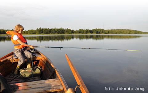 Fiska i Svartån, Västmanland. Gädda och aborre. Fiskrika sjöar. Nära Västerås.